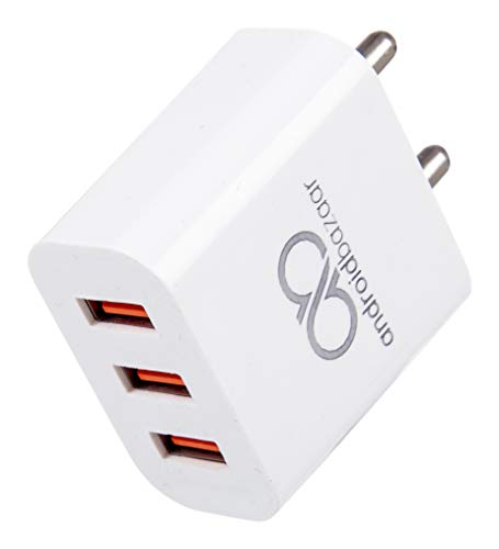 AndroidBazaar AB-103 TurboCharge 5V/2.4 Amp 12W Wall Charger for All Latest Android and iOS Devices (White) (3 USB Port Wall Charger)