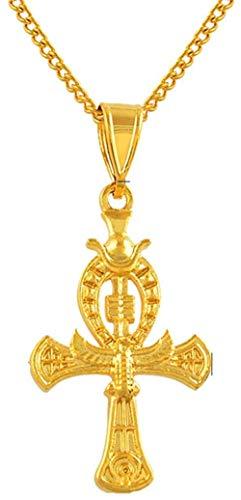 Zaaqio Color Oro Antiguo Ankh Cruz África Egipto Amuleto Colgante Collares Egipto joyería Cruz Encanto 50 cm