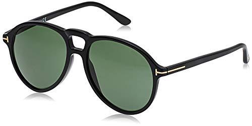 Tom Ford Unisex-Erwachsene FT0645 01N 57 Sonnenbrille, Schwarz (Nero Lucido/Verde)