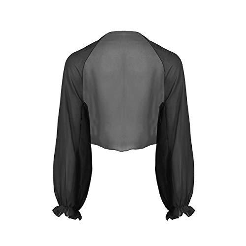 MSemis Chal de Boda Fiesta Cárdigan Abierto para Mujer Toreras para Vestisdo Novia Bolero de Ceremonia Camisola de Playa Estola de Gasa Mangas Volantes Negro Talla Única
