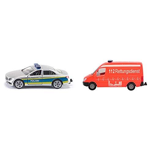 Siku 1504 Streifenwagen Polizei, blau & 0805, Krankenwagen, 1:87, Metall/Kunststoff, Rot, Bereifung aus Gummi, Spielzeugfahrzeug für Kinder