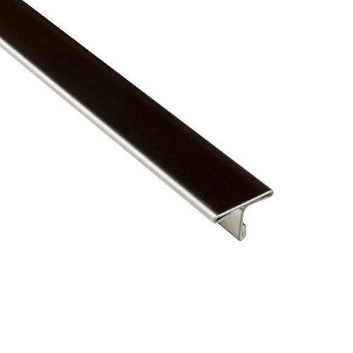 T-Profil Edelstahl Übergangsschiene Übergangsprofil V2A gebürstet glänzend L250cm 15mm glänzend