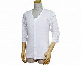 紳士前開きシャツ(ワンタッチテープ式) 七分袖 白 L 43212 (ウエル) (肌着)