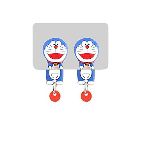 Pendientes de Plata 925 japoneses de Doraemon de Dibujos Animados Bonitos sin Pendientes Perforados Antes y después de Usar Clips para Las Orejas-A