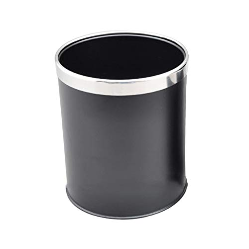xiaodou Papeleras Cubo de Basura de Acero Inoxidable Oficina Hotel Anillo de Papel con Anillo de Acero, 8L Bote de Basura (Color : Black)