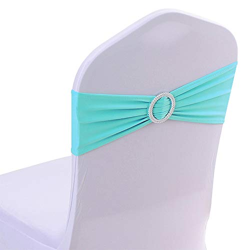 50PCS Spandex Wedding Chair Bands with Buckle Slider Sashes Bow for Wedding Decorations (Lavender)