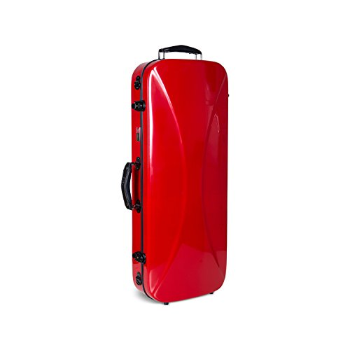 red violin with cases Crossrock CRF1000DVRE Fiberglass Double Violin Case For Two 4/4 Full Size Violins, Backpack Style in Red