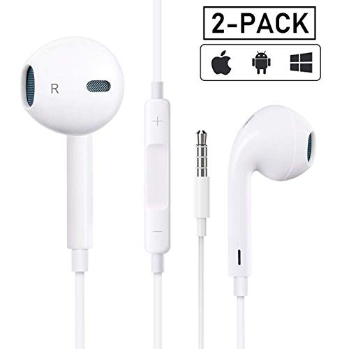 【2Pack】 Headphones with 3.5mm Earphones Plug,Earphones Stereo Headphones Noise Headset with Mic Call+Volume Control for iPhone 6 Earbus Compatible with iPhone 6s/6plus/6/5s,Android,PC