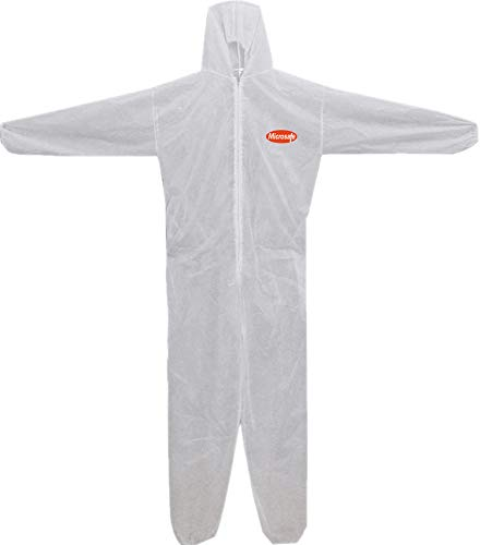 MICROSAFE Large White Boiler Suits Disposable Coveralls CAT 3 Type 5 & 6 - EC Certified 89/686/EEC