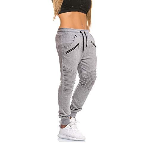 MATKA Damen Frauen Jogging Hose Jogger Streetwear Sporthose Chil zuhause Modell 1315 Grau XL