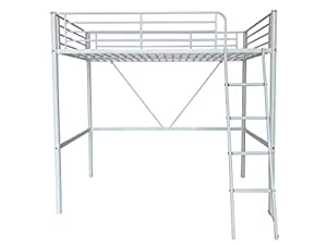 Humza Amani Upton High Sleeper/Study Bunk Bed Frame in White Metal Finish