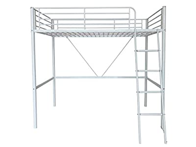 Humza Amani Upton High Sleeper/Study Bunk Bed Frame in White Metal Finish