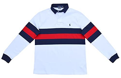 Ralph Lauren Herren Sweatshirt Rugby Custom Slim Fit Baumwolljersey Weiß Blau Rot gestreift Größe L