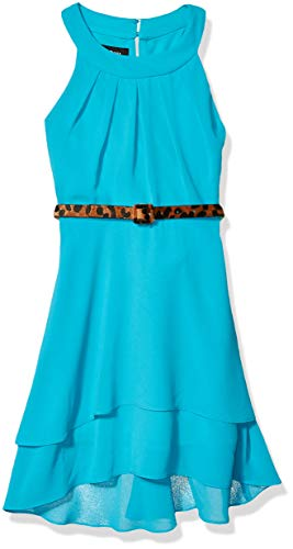 Amy Byer Girls' Circle Neck High-Low Dress, Sunset Teal, 7