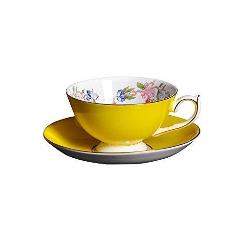 FHISD Creative Pastoral Bone China Juego de Taza y platillo de café Amarillo, Taza de té de la Tarde de Oficina con Platos, Taza de Leche de 220 ml con asa, Taza de Avena, Adecuada para el hogar y