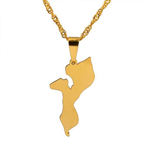 YUANYIRAN Karte Von Mosambik Anhänger Halsketten - Charme Afrika Ethnische Karten Flagge Dünne Kette Halsketten, Patriotische Gold Farbe Karte Hip Hop Schmuck Für Frauen Männer Party Geschenk, 60Cm
