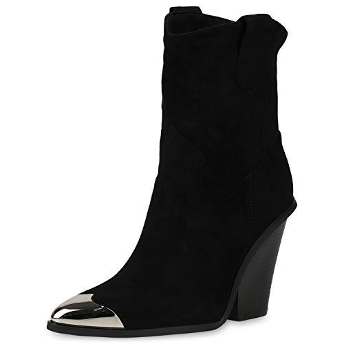 SCARPE VITA Damen Stiefeletten Cowboy Boots Leicht Gefütterte Western Schuhe Metallic Chunky High Heels Cowboystiefel 187344 Schwarz 40