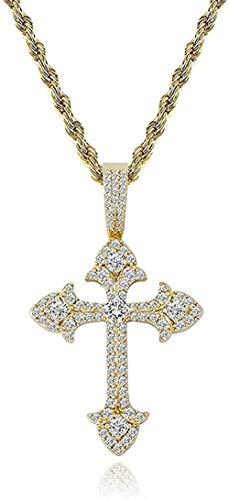 Collar Colgante Collar de cadena Mujeres Hombres Collar de oro blanco de 14 quilates Chapado en oro completamente helado Colgante de cruz de circonita cúbica clásica con cadena de cuerda Collar de reg