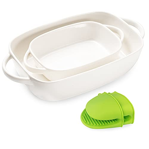 Bakeware Sets with 1 Pair of Mini Oven Mitts, Casserole Dish Includes 2 Rectangular Baking dishes, Ceramic baking dish for Cooking, Cake, Dinner, Daily Use(White)