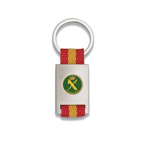 Tiendas LGP Albainox- Llavero Bandera DE ESPAÑA y Emblema Guardia Civil, Plateado