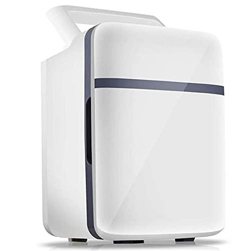 BAOZUPO Refrigerador Mini refrigerador 10 L Refrigerador y calentador de coche eléctrico, cables de alimentación de CA y CC Refrigerador compacto portátil con estantes ajustables para el hogar, la ofi