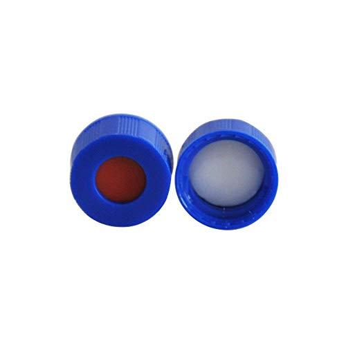 Membrane Solutions 9mm Autosampler Vials Cap Hplc 9-425 Screw Thread Vial Blue Caps White PTFE/Red Silicone Septa, 100 pcs/pk