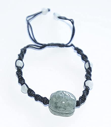 Pulsera de la riqueza Feng Shui Shambala estilo tibetano buena suerte tortuga espiritual pulsera (pulsera china anudada y jade - ajustable para adaptarse a cualquier persona).Hecho a mano en el Tíbet