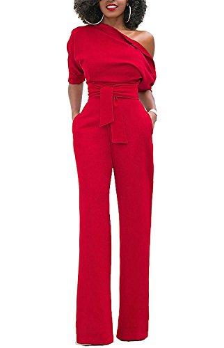 Minetom Sexy Tute da Donna con Spalle Scoperte Tute Lunghe a Gamba Larga con Cintura Pantaloni Lungo Elegante Cerimonia Jumpsuit Rosso IT 44