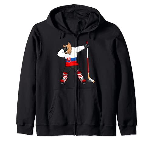Dabbing Pitbull Slowakei Eishockey Mannschaft Wintersport Kapuzenjacke