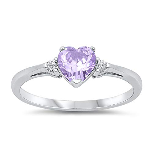 Oxford Diamond Co Sterling Silver Gemstone Heart Promise Love Jewelry Ring Sizes 3-12 (Lavender Cubic Zirconia, 7)