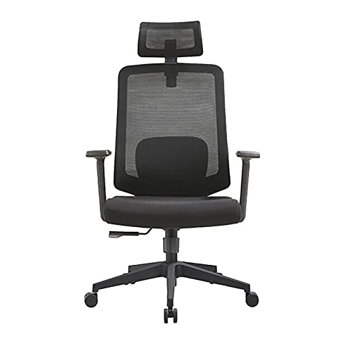 HXJU Silla de oficina ejecutiva,Silla de escritorio ergonómica con soporte de espalda,Silla de escritorio de respaldo alto con malla transpirable,Reposabrazos ajustable negro-A