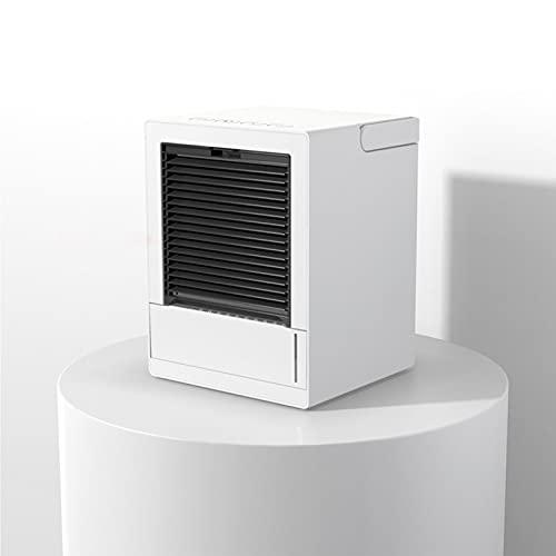 FCMU Mini acondicionador de Aire portátil, Ventilador de Escritorio con Interfaz USB, enfriamiento de Tres en uno, humidificación y atomización, con luz Nocturna (adecuad White