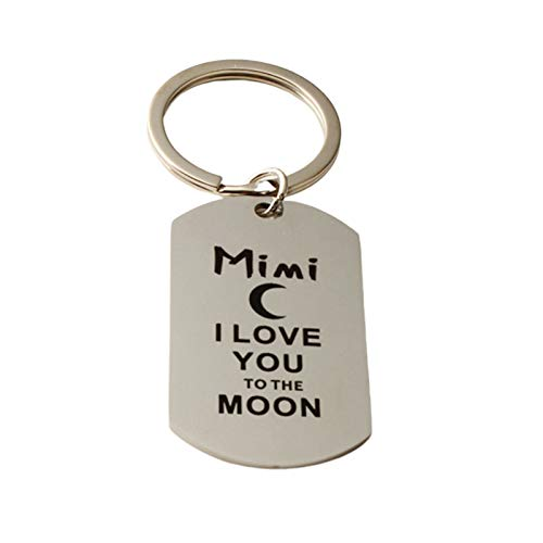 AmDxD Porte-Clés, Porte Clé Acier Inoxydable Dog Tag Avec Gravure Mimi I Love You TO The Moon and Back, Argent, 2.2 X 3.9CM