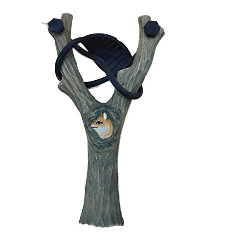 Schleuder Steinschleuder Zwille Motiv Fuchs ca. 20 cm handgeschnitzt die Holzkiste Outdoor Spielzeug Mittelalter Garten Freizeit