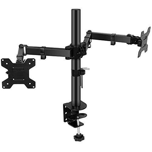SunJas Soporte de Monitor Doble para Monitor 13'- 32' LED/LCD,Brazo de Monitor con VESA 75/100 mm,Giro de 360° y Rotación de 180°,Altura Ajustable,2 Opciones de Montaje,Peso Máximo 10KG de Cada Brazo