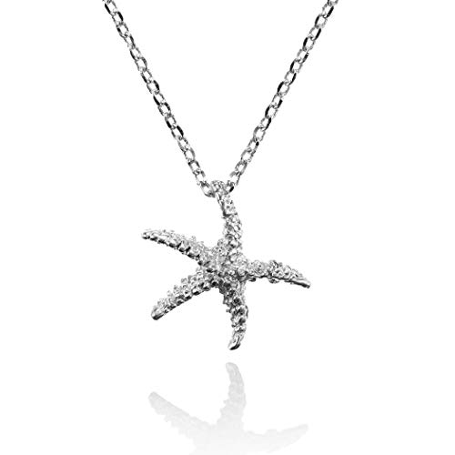 namana Starfish Pendant Necklace. Brushed Finish Sea Star Silver Necklaces for Teen Girls and Women. Dainty Necklace for Women with Starfish. Cute Jewelry for Women with Gift Box.