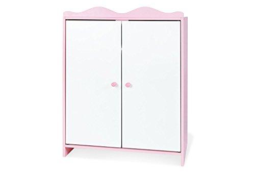 Pinolino Puppenschrank Jasmin, aus Holz, mit 1 Einlegeboden, 1 Kleiderstange und 3 Kleiderbügeln, Puppenmöbel für Mädchen ab 2 J., rosa/weiß