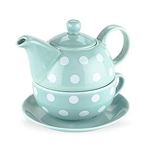Pinky Up 5033 Addison Polka Dot Tea-For-One Sets, Blue