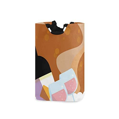 ZOMOY Impermeable Plegable Cestos para la Colada,Botella Vino Rosa con Vasos Burbujas Fondo Dibujos Animados,Cajas de almacenaje Cestas de Tela para Guardar Organizadoras Juguetes Ropa