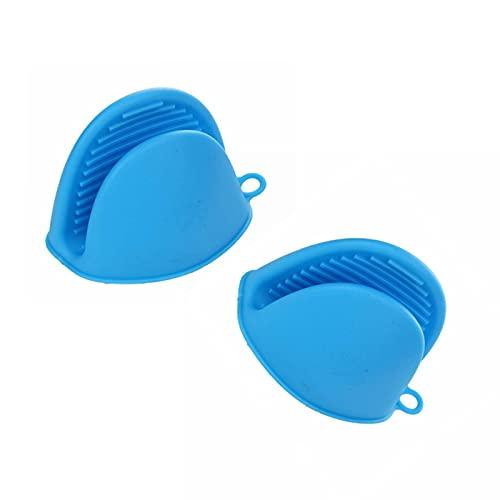 2 manoplas de silicona para horno, antiquemaduras para horno, color azul