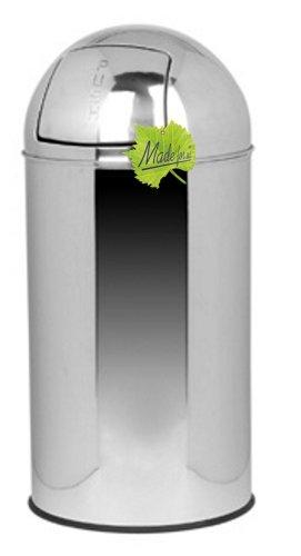 Made for us® 55 L Retro Edelstahl PUSH-Abfalleimer poliert, 30er-Jahre Nostalgie Küchen-Mülleimer, 55 Liter Abfall-Behälter Mülleimer aus Edelstahl mit Push-Deckel, Gelber Sack geeignet