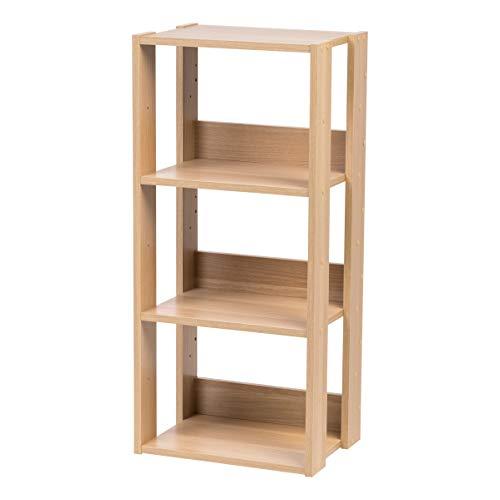 Iris Ohyama, Estante de 3 compartimentos, Unidad de almacenamiento de 3 niveles en madera - Open Wood Rack OWR-400 - Roble claro, L40 x P29,3 x A87,9 cm