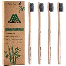 Bamboo Toothbrush, Biodegradable Soft Bamboo Charcoal Toothbrushes (BPA Free), 4 Pack Eco Friendly Natural Organic Toothbrush, Individually Numbered - 100% Smooth Bamboo Handle Tooth brushes