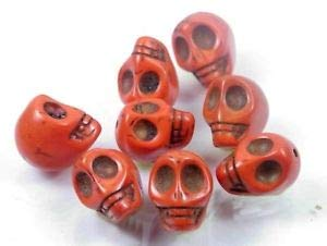 17x14mm Orange Turquoise Carved Skull Beads Halloween (8) Spacer Beads and Roll Crystal String for Bracelets Jewelry Making