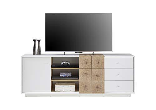 Robas Lund Lowboard weiß matt, Wohnzimmerschrank TV Möbel mit Absetzung Eiche Hirnholzoptik, BxHxT 179x65x40 cm