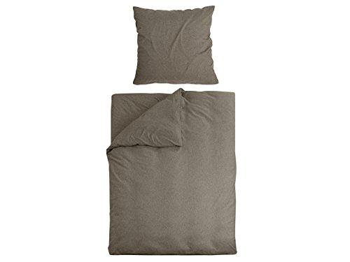 Dormisette Melange-Jersey Bettwäsche - Verschiedene Größen und Farben 775.988, Bettwäscheset 80 x 80 + 155 x 220 cm, braun