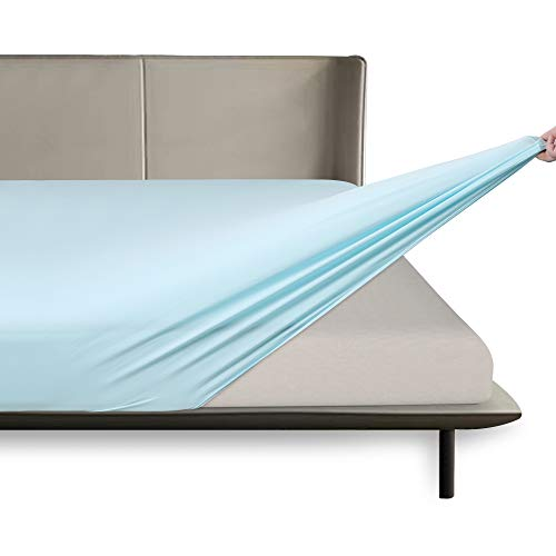 BROLEX-Twin-Fitted-Sheet,1 Single Fitted Sheet Only,Ultra Soft Stretchy Jersey Knit,Wrinkle Free & Stay in Place,Fit Mattress Deep from 8' Up to 14',Baby Blue