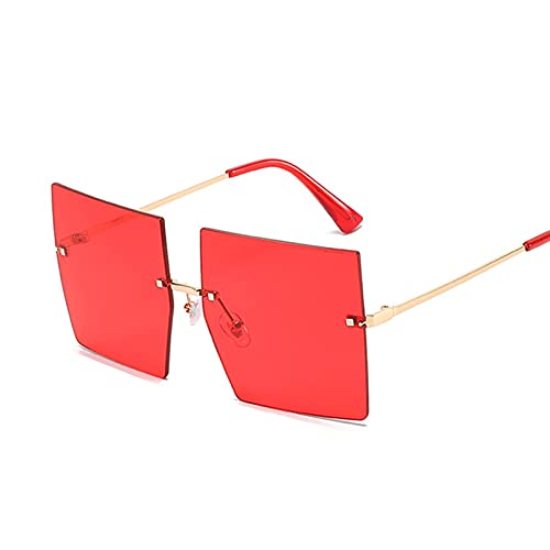 SLAKF Gafas duraderas Forme Gafas de Sol de Gran tamaño Mujer Metal Femenino Femenino Marco gradiente Gafas de Sol cuadradas sin llanta (Lenses Color : Gold Red)