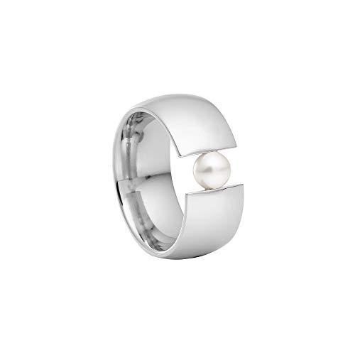 Heideman Ring Damen aus Edelstahl Silber farbend poliert Damenring für Frauen mit echter Süßwasser Perle Weiss rund 6mm