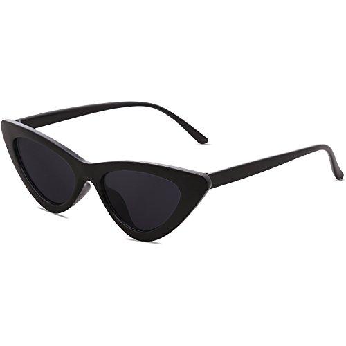 SOJOS Gafas De Sol Mujer Ojo De Gato Moda Chic Super Cat Eye SJ2044 Marco Negro/Lente Gris